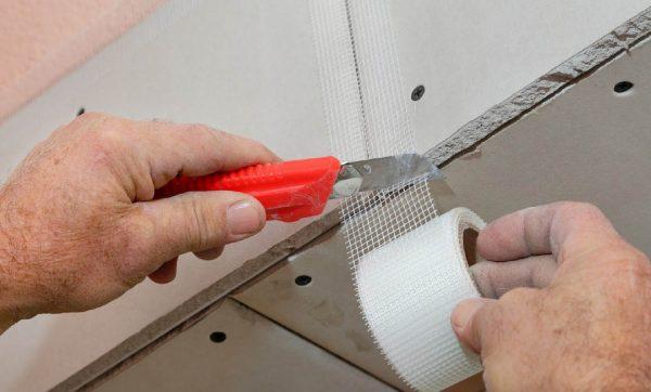 Армирование стыков гипсокартонных листов