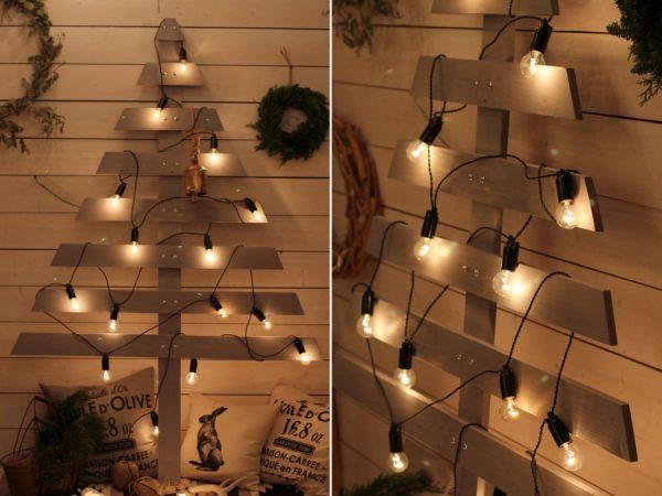 Новогодняя елка из обычных лампочек