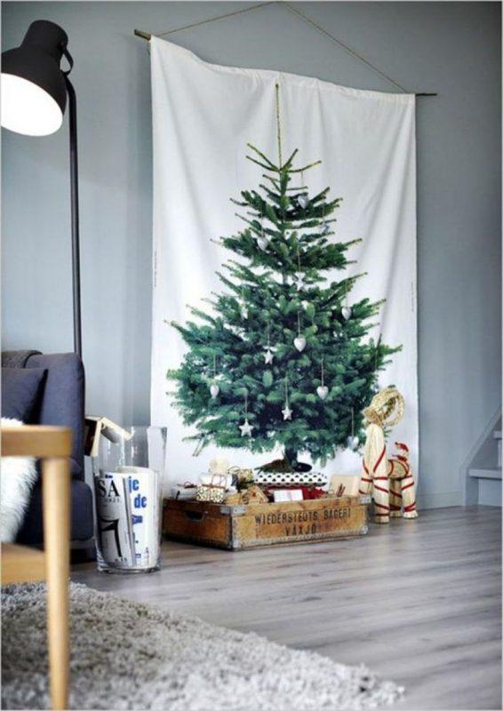 Постер елка в скандинавском стиле Елка на стене фото Новогодняя елка в офисе Елка на ткани