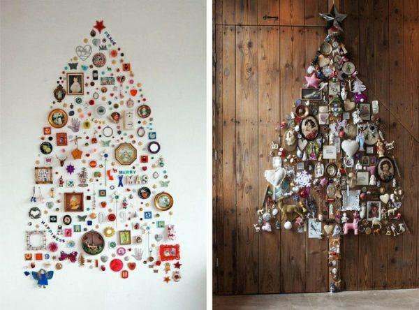 Новогодняя елка из сувениров на стене