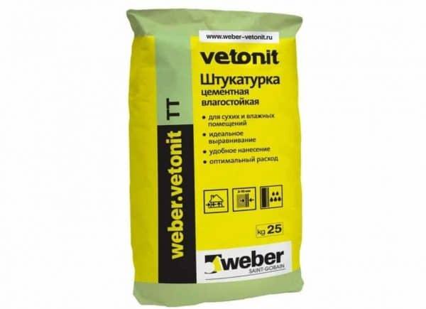 Цементная влагостойкая штукатурка Вебер Ветонит