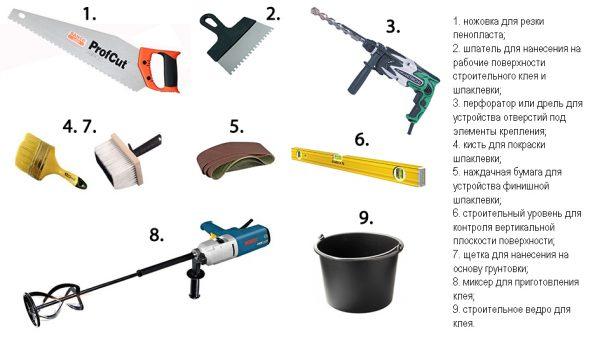 Инструменты для утепления стен