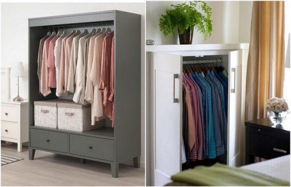 Низкие шкафы для одежды нерационально используют пространство
