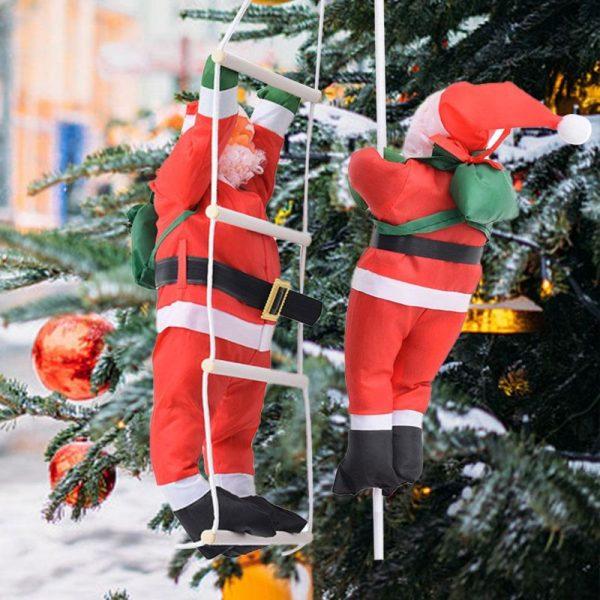 Рождественская подвеска с взбирающимися по лестницам Санта-Клаусами