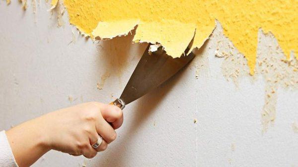 Подготовка стен под покраску, удаление старого слоя