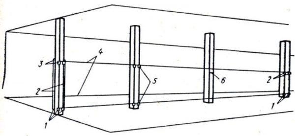 Схема провешивания колонн