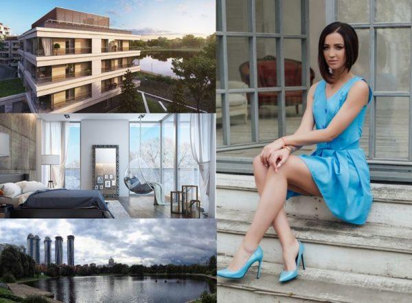 Ольга Бузова в голубом платье и туфлях сидит на лестнице
