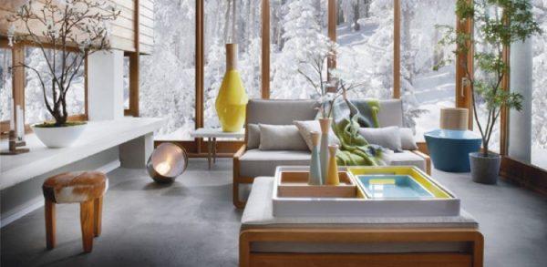 Уютный интерьер за окном зима