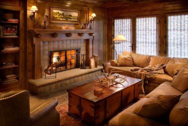 Интерьер с камином в доме