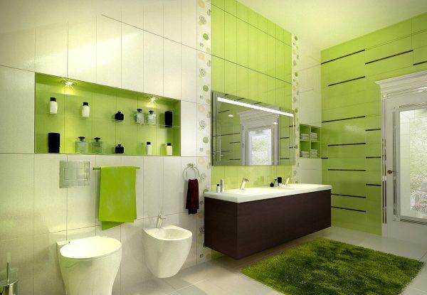 Использование зеленых тонов в оформлении ванной