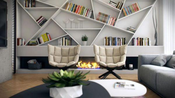Книжные шкафы и полки в интерьере