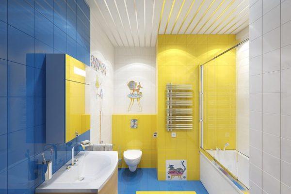 Контрастное сочетание цветов в ванной