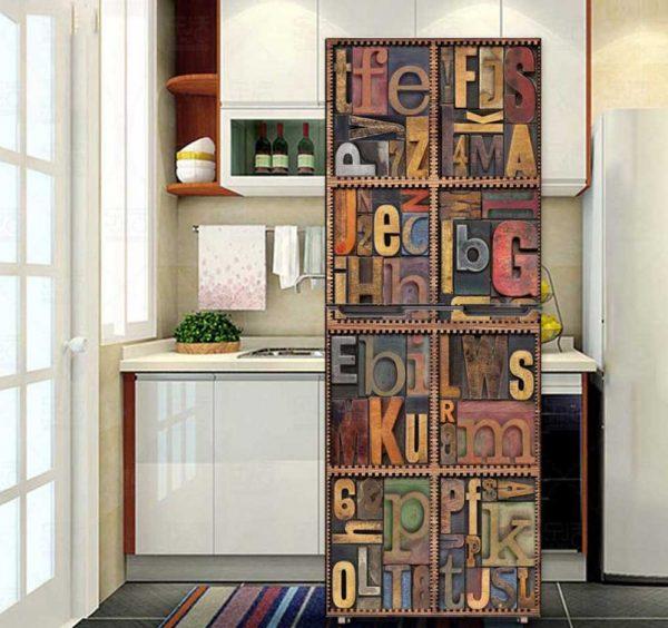 Обклейка холодильника обоями