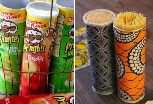 Высокие трубы из-под чипсов для хранения спагетти