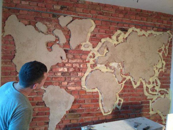 Как наносить штукатурку карта мира