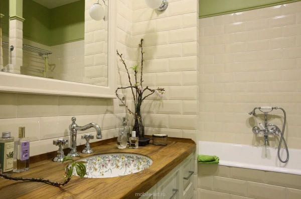 Санузлы в ванной в сочетании с кафелем
