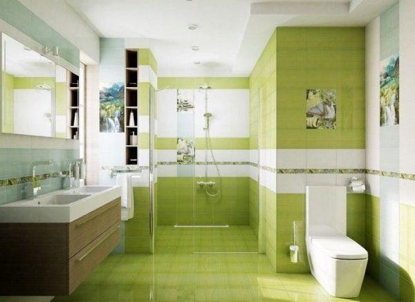 Зеленая плитка в ванной комнате