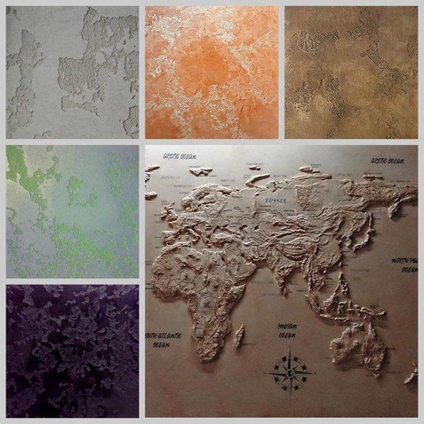 Декоративная штукатурка для карты мира