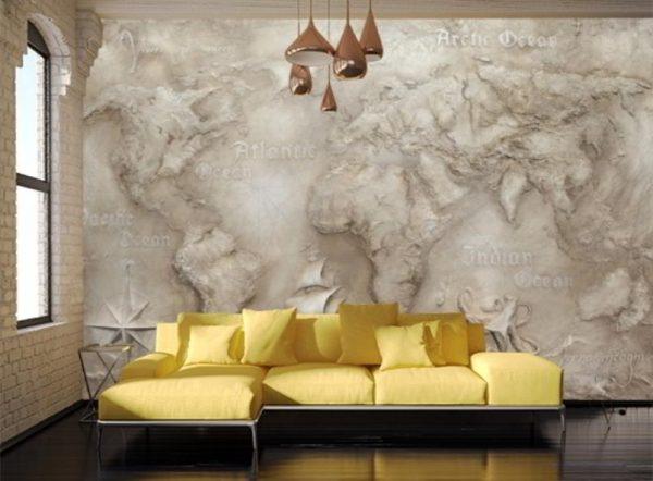 Карта мира из травертина