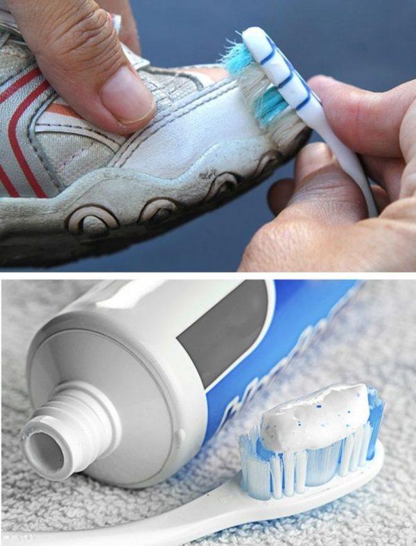 Очистка подошвы кроссовок пастой