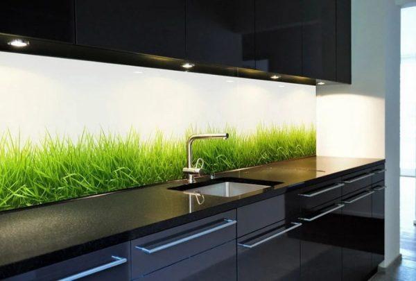 Стеклянная стеновая панель для кухни
