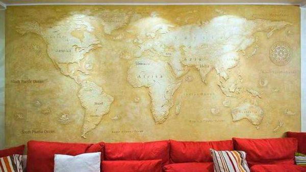 Матовая штукатурка карта мира