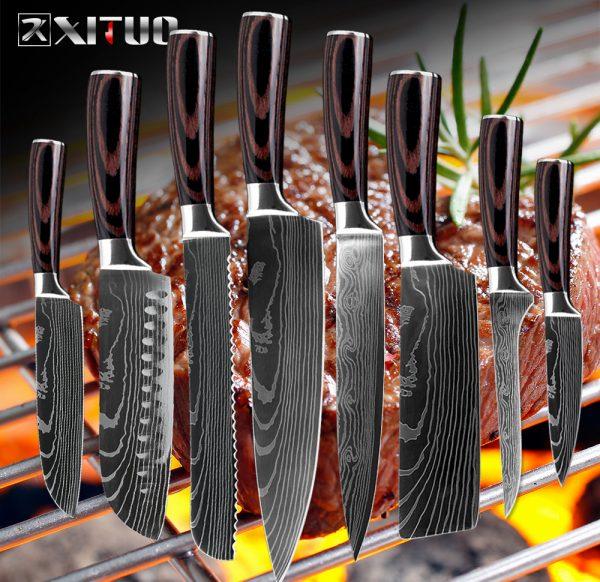 Набор ножей из дамасской стали