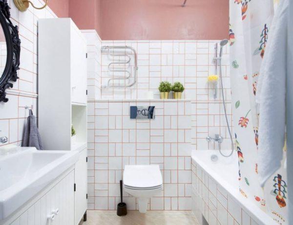 Цветная затирка в интерьере ванной