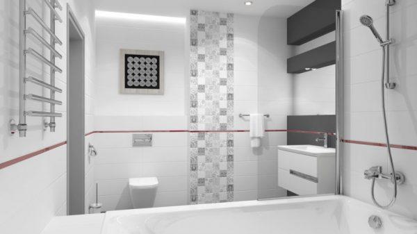 Однотонная отделка ванной