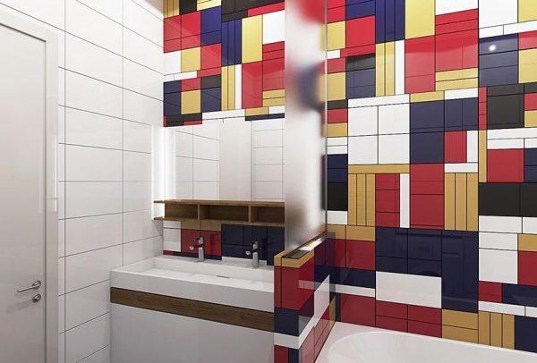 Разноразмерные плитки в интерьере ванной