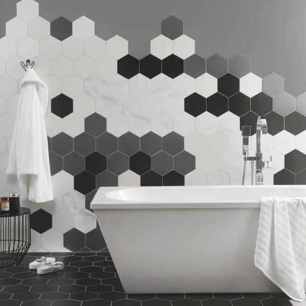 Шестигранная плитка в ванной