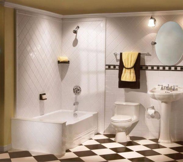 Плитка по диагонали для ванной комнаты