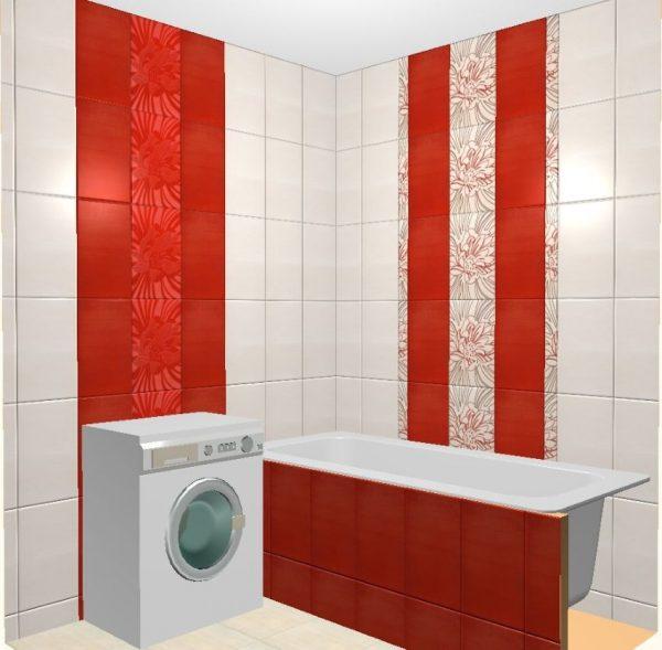Раскладка плитки в ванной комбинированная