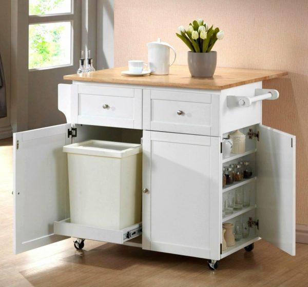 Стол с местами для хранения для маленькой кухни