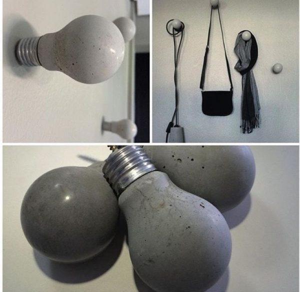 Крючки для стен в форме лампочек из бетона