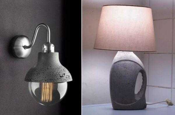 Бра и лампа из бетона
