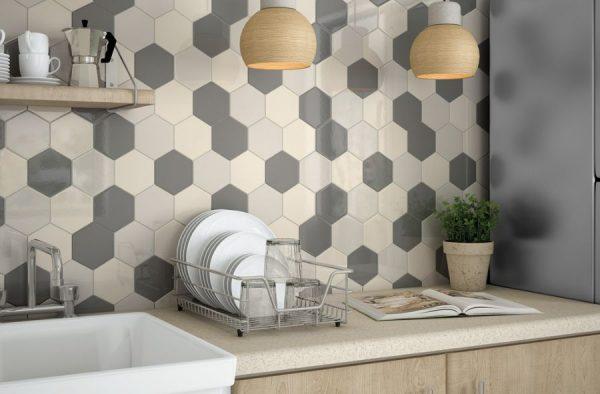 Плитка шестигранник на кухонный фартук