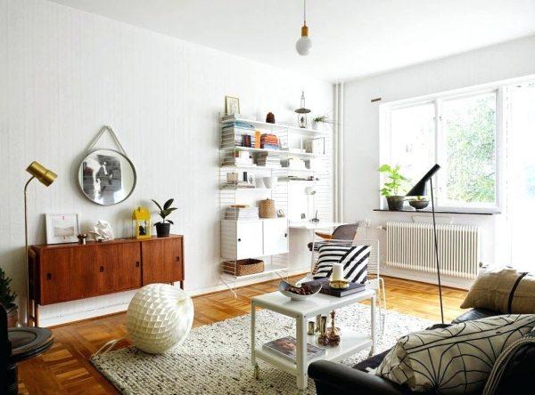Ретро мебель из натурального дерева в скандинавском интерьере