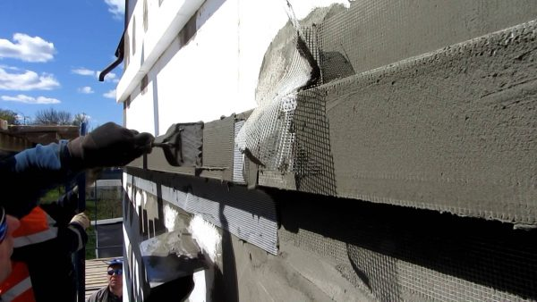 Штукатурка теплого фасада с армированием