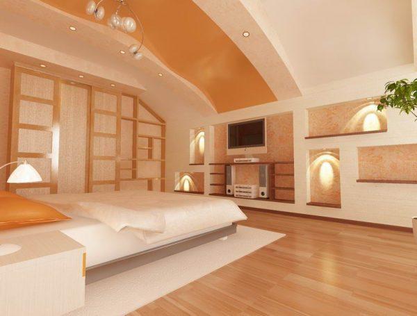Мансардный потолок с отделкой из гипсокартона