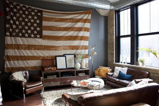 Флаг США в интерьере