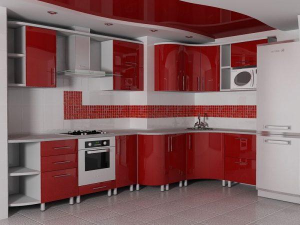 Угловая кухня с вентиляционным коробом