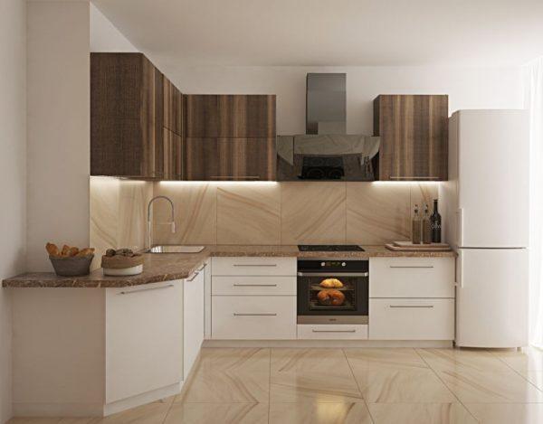 Угловая кухня с коробом