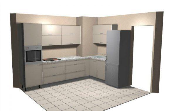 Встроенный кухонный гарнитур с выступом в стене