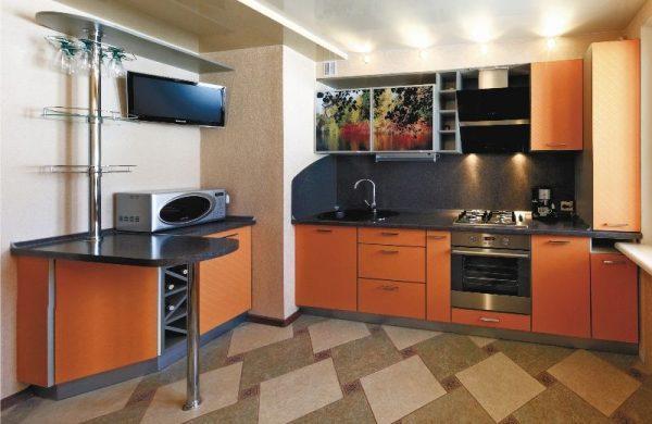 Современные угловые кухни с шахтой