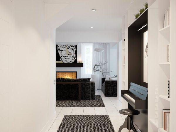 Интерьер дома оформлен в черно-белых тонах