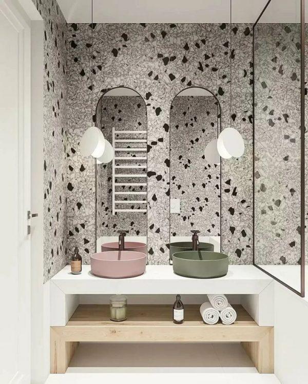 Терраццо в интерьере ванной