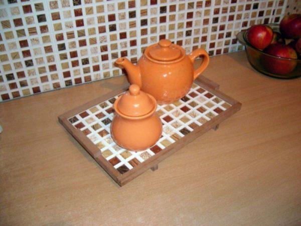 Подставка для горячей посуды из мозаики
