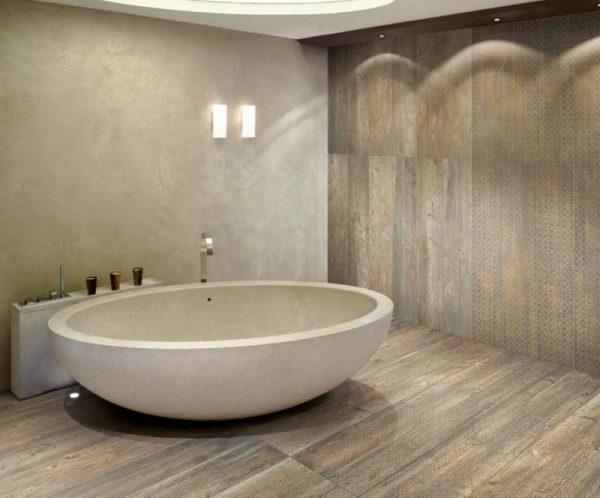 Ванная комната с линолеумом на стенах