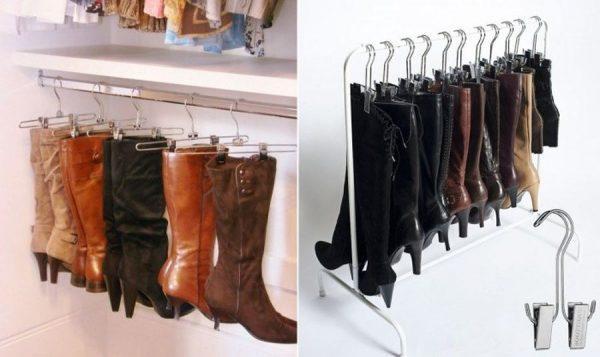 Вешалки для сапог в гардеробной